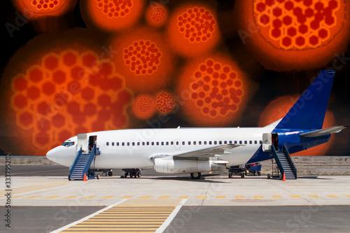 Virus molecules next to an airplane Canvas Print