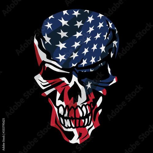 Fototapeta American Flag Skull Isolated Vector Illustration obraz
