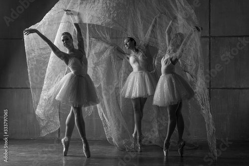 Fototapeta Three ballerinas dancing with big light cloth