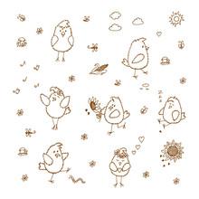 Birds Set. Hand Drawn Doodles ...