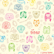 Dogs Vector Seamless Pattern. ...