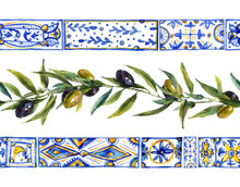 Watercolor Olive Branches Orna...