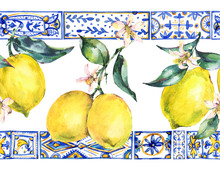 Watercolor Lemon Ornament Seam...