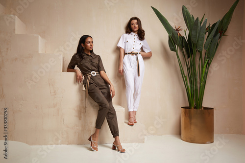Cuadros en Lienzo Two beautiful woman fashion model brunette hair friends wear overalls suit casual style sandals high heels accessory clothes safari Sahara journey summer hot collection plant flowerpot wall stairs