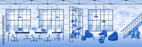 Fototapeta Empty contemporary office interior horizontal background. Vector illustration. Modern workspace design. obraz