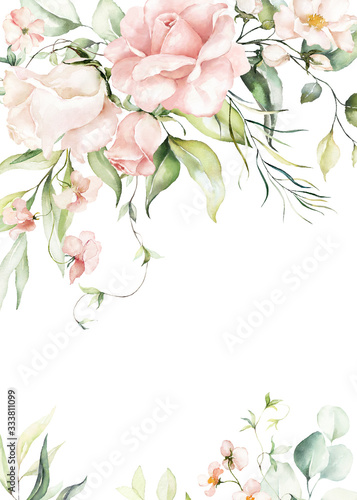 Watercolor floral border / wreath / frame with bright peach color, white, pink, vivid flowers, green leaves, for wedding invites, wallpapers, fashion, background, texture, wrapping. - 333811099