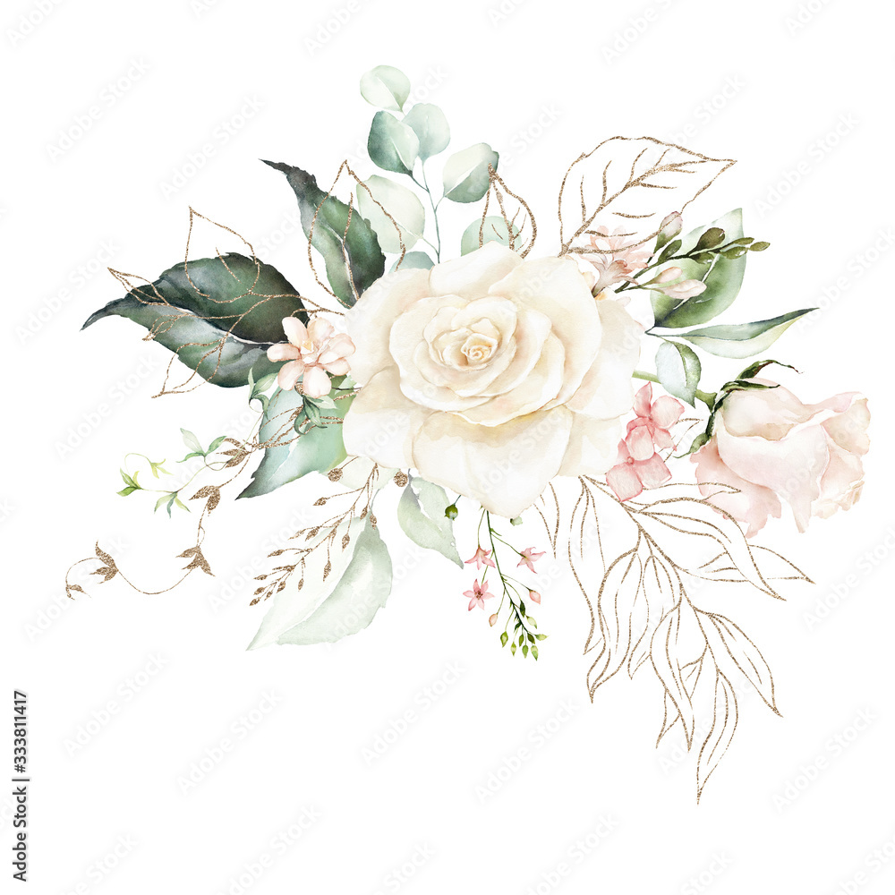 Fototapeta Watercolor floral bouquet - illustration with bright pink vivid flowers, gold elements, green leaves, for wedding stationary, greetings, wallpapers, fashion, backgrounds, textures, wrappers, cards.