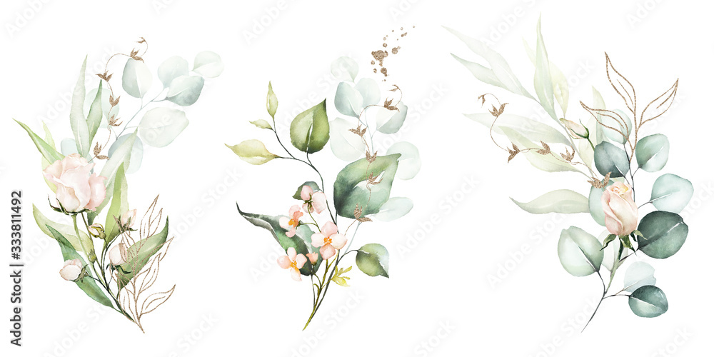 Fototapeta Watercolor floral illustration set - flower and green gold leaf branches bouquets collection, for wedding stationary, greetings, wallpapers, fashion, background. Eucalyptus, olive, green leaves, etc.