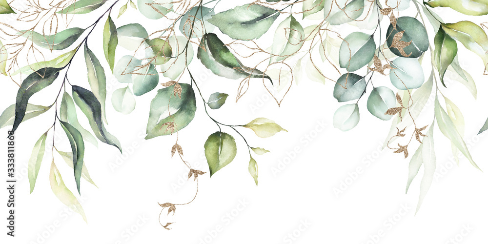 Fototapeta Watercolor seamless border - illustration with green leaves & branches and gold elements, for wedding stationary, greetings, wallpapers, fashion, backgrounds, textures, DIY, wrappers, cards.