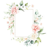 Fototapeta Kwiaty - Watercolor floral frame / wreath - flowers, leaves and branches with gold geometric shape, for wedding invites, greetings, wallpapers, fashion, background. Eucalyptus, pink roses, green leaves.