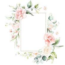 Watercolor Floral Frame / Wrea...