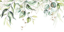 Watercolor Seamless Border - Illustration With Green Leaves & Branches And Gold Elements, For Wedding Stationary, Greetings, Wallpapers, Fashion, Backgrounds, Textures, DIY, Wrappers, Cards.