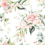 Seamless watercolor floral pattern - pink flowers, green leaves & branches on white background; for wrappers, wallpapers, postcards, greeting cards, wedding invitations, romantic events. - 333814077