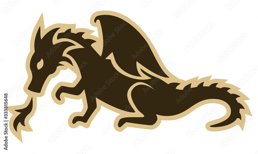 Vector drawing of a fire-breathing dragon in flat colors. Can represent mythology, the Middle Ages, a medieval quest, a coat of arms, the Year of the Dragon, a crest, a legend, a monster, etc.