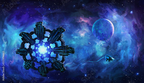 Photo Artistic 3d illustration of an extraterrestrial aliens invasion spaceships float
