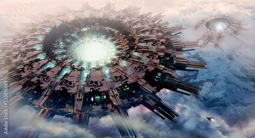 Photo Artistic 3d illustration of an extraterrestrial aliens invasion spaceships  hove