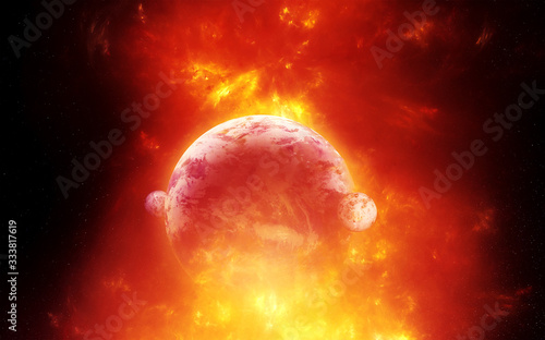 Artistic 3d illustration of a planet burning in apocalyptic way Canvas Print