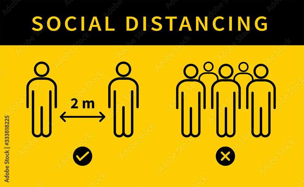 Fototapeta Social distancing icon. Keep the 2 meter distance. Avoid crowds. Coronovirus epidemic protective. Vector illustration