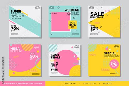 Fashion Memphis social media post design template Premium Vector Billede på lærred
