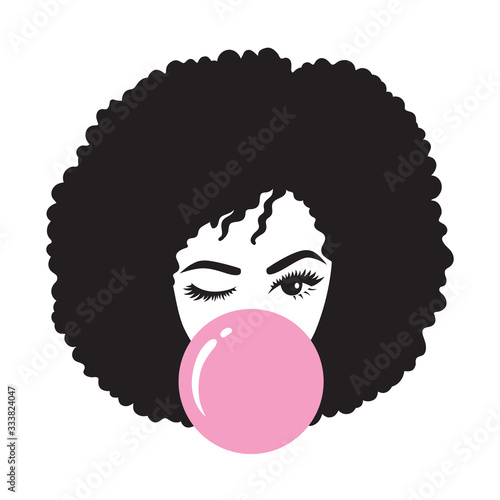 Black woman with afro hair blowing bubble gum vector illustration #333824047