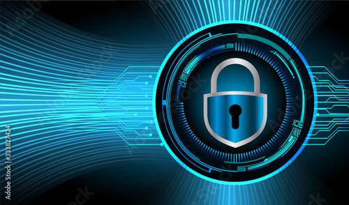 Fototapety, obrazy: Closed Padlock on digital background, cyber security
