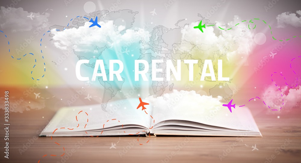 Fototapeta Open book with CAR RENTAL inscription, vacation concept