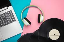 Laptop With Headphones, Vinyl ...