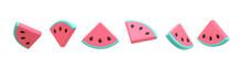 3D Rendering Set Of Watermelon...