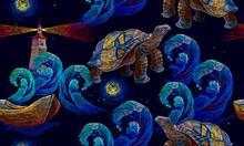 Sea Turtle Swims In Night Ocea...