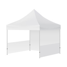 Display Tent Mockup With Two Walls Isolated On White Background - Half Side View. Vector Illustration