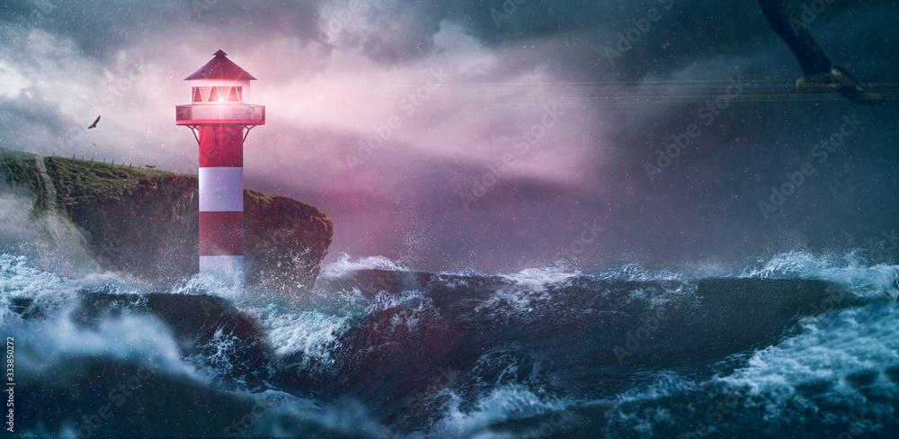 Fototapeta Leuchtturm Meer Sturm