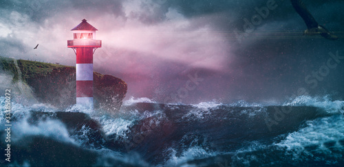 Obraz na plátně Leuchtturm Meer Sturm