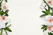 wellness and spa composition with towels, candle, tropical leaves and orchid flowers on white background. top view. copy space