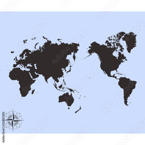 Fotografie, Obraz vector monochrome Pacific Centred World Political Map