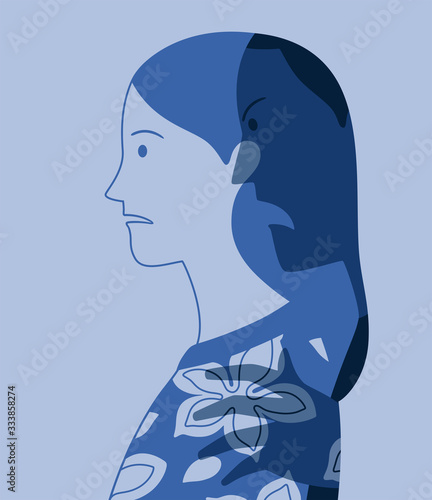 Photo Vector profile portrait of young woman oppressed by fear of male violence repres