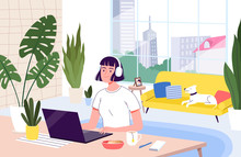 Young Woman Freelancer Works R...