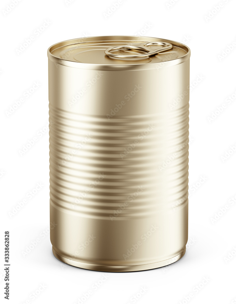 Fototapeta Blank Yellow metal tin can on white background. Mockup template for your design. 3d rendering