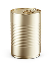 Blank Yellow Metal Tin Can On ...
