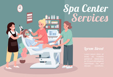 Spa Center Services Banner Flat Vector Template. Brochure, Poster Concept Design With Cartoon Characters. Facial Skincare Treatment. Beauty Salon Horizontal Flyer, Leaflet With Place For Text