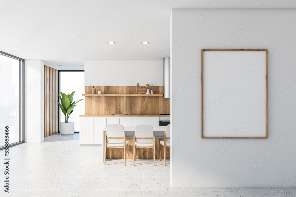 Fototapeta White and wooden kitchen with bar and poster