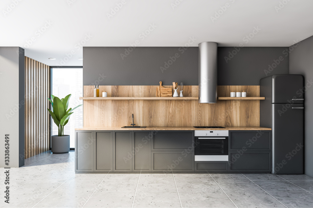 Fototapeta Gray and wooden kitchen with countertops