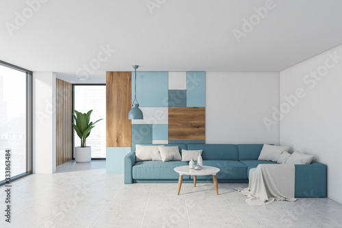 Fototapeta White living room interior with blue sofa obraz
