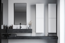 Sink And Cabinets In White Bat...