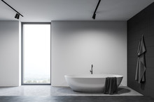 White And Black Bathroom Inter...