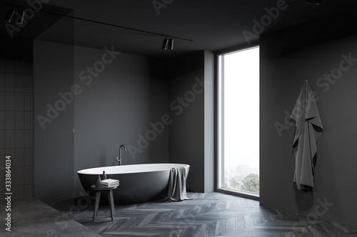 Fototapeta Dark grey bathroom corner with tub obraz