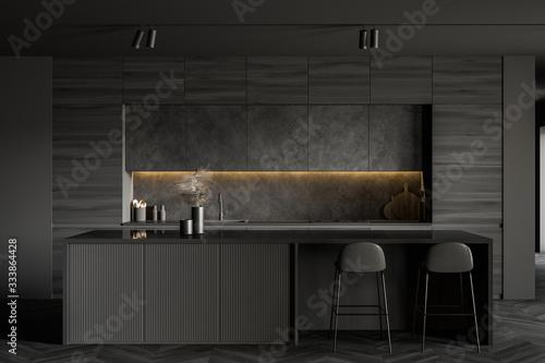 Minimalistic dark grey kitchen interior with bar