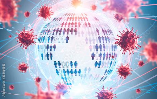 Obraz Coronavirus pandemia concept, planet hologram - fototapety do salonu