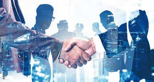 Obraz Handshake in Moscow city, business partnership - fototapety do salonu