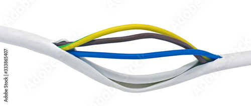 Defective power cable on the white Tapéta, Fotótapéta