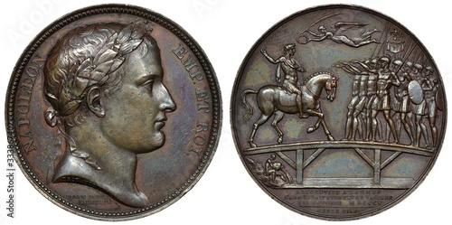 France French 19th century bronze medal, laureate head right, allegorical scene Canvas Print